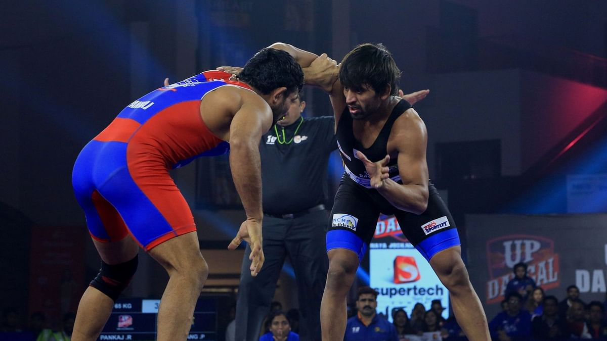 Bajrang Punia in action during the PWL semi-final against UP Dangal.