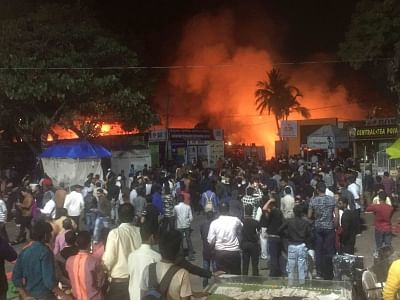 Hyderabad:  A fire breaks out at All India Industrial Exhibition in Hyderabad, on Jan 30, 2019. An unspecified number of people were injured in the stampede after the fire broke out after 9 p.m. from a stall, reportedly due to a short-circuit. (Photo: IANS)
