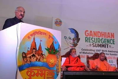 Prayagraj: President Ram Nath Kovind addresses at the inauguration of Gandhian Resurgence Summit in Prayagraj, on Jan 17, 2019. (Photo: IANS/RB)