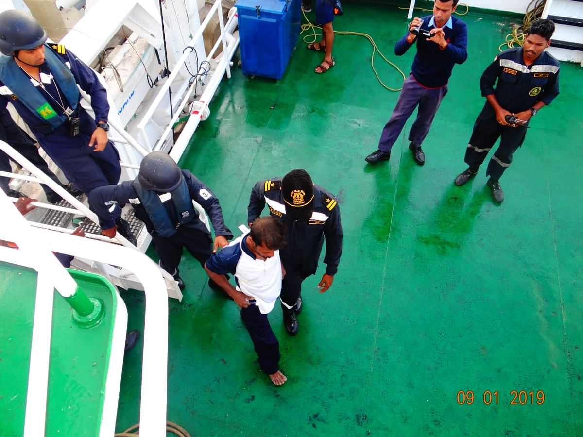The CG ship found and rescued the 41-year-old, who had been in the water for nearly 8 hours.