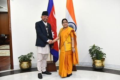 New Delhi: External Affairs Minister Sushma Swaraj meets Nepal Foreign Affairs Minister Pradeep Kumar Gyawali, in New Delhi, on Jan 10, 2019. (Photo: IANS/MEA)