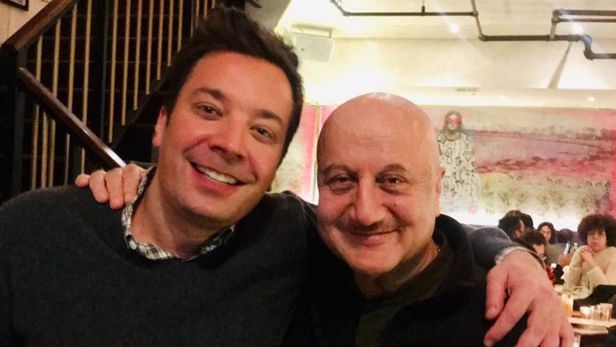 Anupam Kher takes a selfie with Jimmy Fallon.