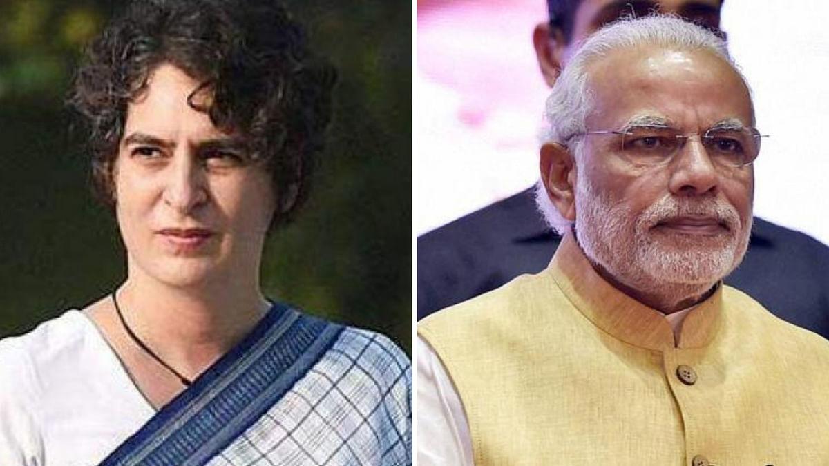 File photo of Priyanka Gandhi and Prime Minister Narendra Modi.