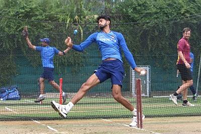 Hamilton (New Zealand): Indian cricketer Khaleel Ahmed during a practice session at Sadden Park, Hamilton, New Zealand on Jan. 30, 2019. (Photo: Surjeet Yadav/IANS)