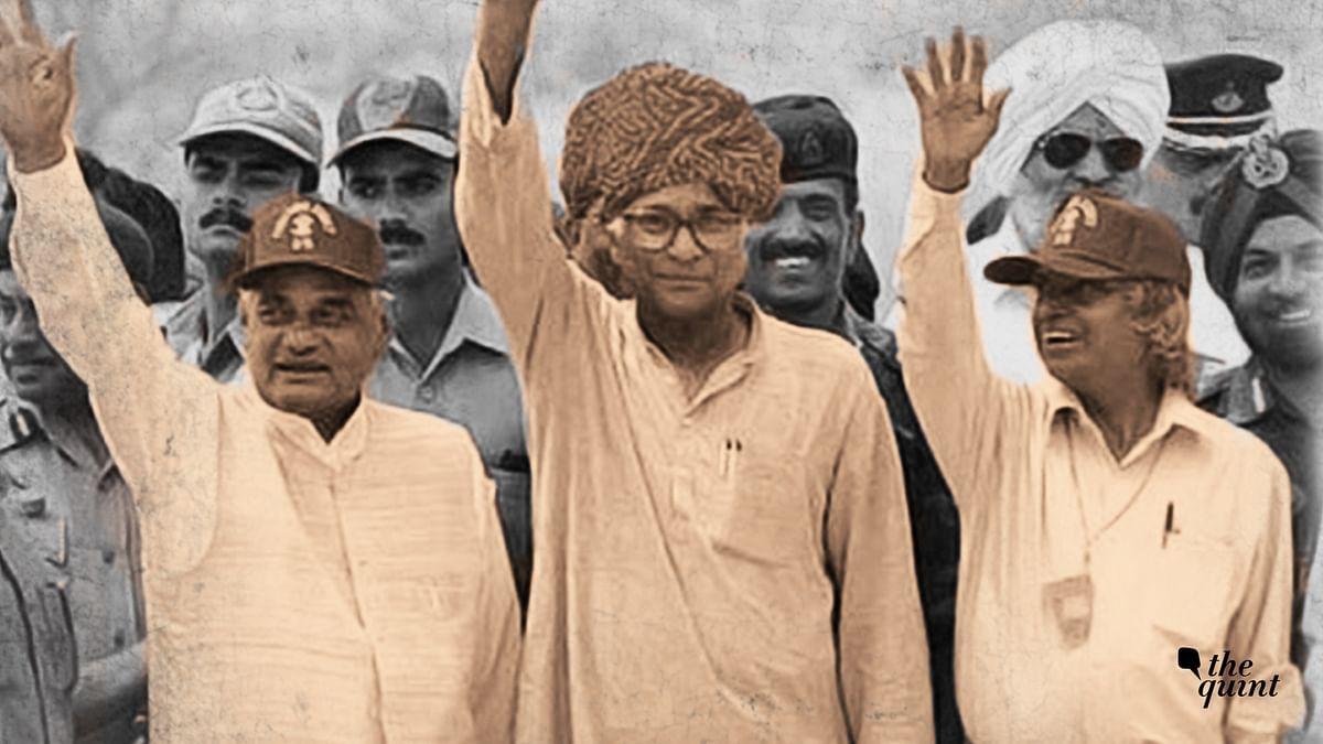George Fernandes (centre) with Atal Bihari Vajpayee (left) and APJ Abdul Kalam (right).