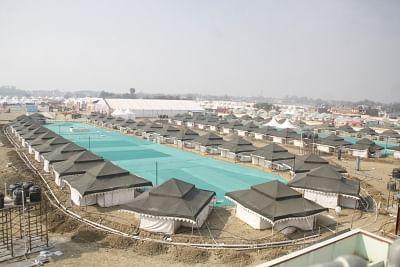 Varanasi: A view of tents installed at the venue of 15th Pravasi Bharatiya Divas Convention in Varanasi, on Jan 17, 2019. (Photo: IANS)