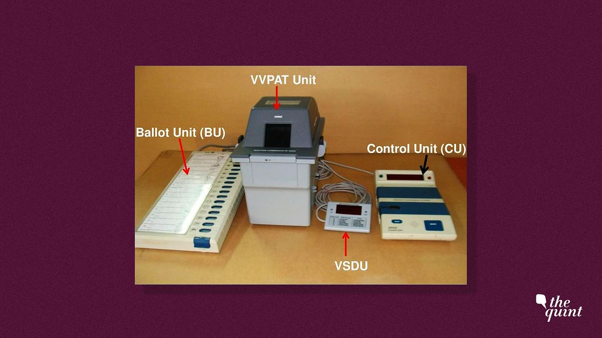 The Electronic Voting Machine (EVM) comprises of a Control Unit which is with the Presiding Officer, a Ballot Unit on which a voter votes for his/her candidate, the VVPAT Unit and VSDU.
