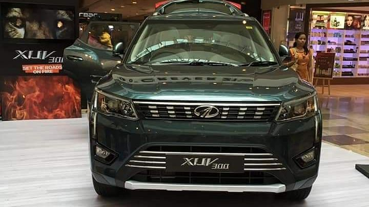 The Mahindra XUV300 was showcased to the public at a mall.