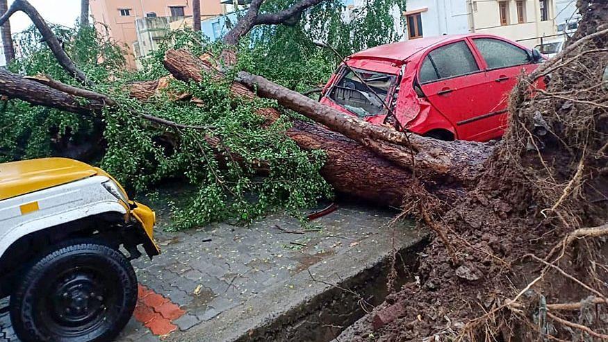 A view of a damaged car after cyclone Gaja hits Kodaikanal.