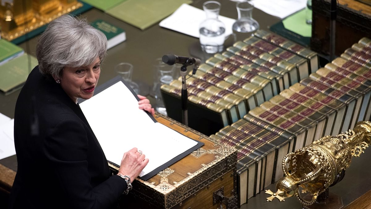 Britain's Prime Minister Theresa May addresses the house of Commons Parliament during the debate on Britain's Brexit European Union Withdrawal Act, in London.