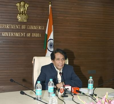 New Delhi: Union Commerce and Industry and Civil Aviation Minister Suresh Prabhu addresses a press conference regarding the 2nd Edition of Indus Food-2019 and 4th meeting of Council for Trade Development and Promotion, in New Delhi on Jan 10, 2019. (Photo: IANS/PIB)