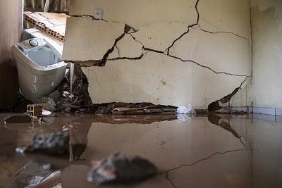 BRUMADINHO, Jan. 28, 2019 (Xinhua) -- Photo taken on Jan. 27, 2019 shows the interiors of a destroyed house at the area affected by the collapse of a tailings dam, near the town of Brumadinho, the state of Minas Gerias, Brazil. The death toll from Brazil