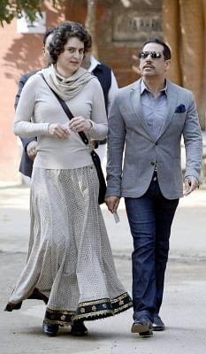 Priyanka Gandhi along with her husband Robert Vadra. (File Photo: IANS)