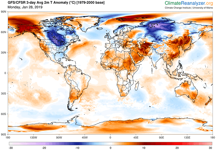 Predicted daily mean, near-surface temperature (C) differences from normal (relative to 1979-2000) for Jan. 28-30, 2019. Data from NOAA's Global Forecast System model.