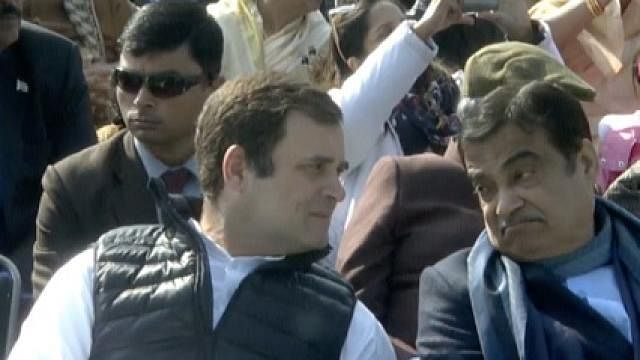 Congress President Rahul Gandhi in conversation with Union Minister Nitin Gadkari at the Republic Day Parade, 2019.