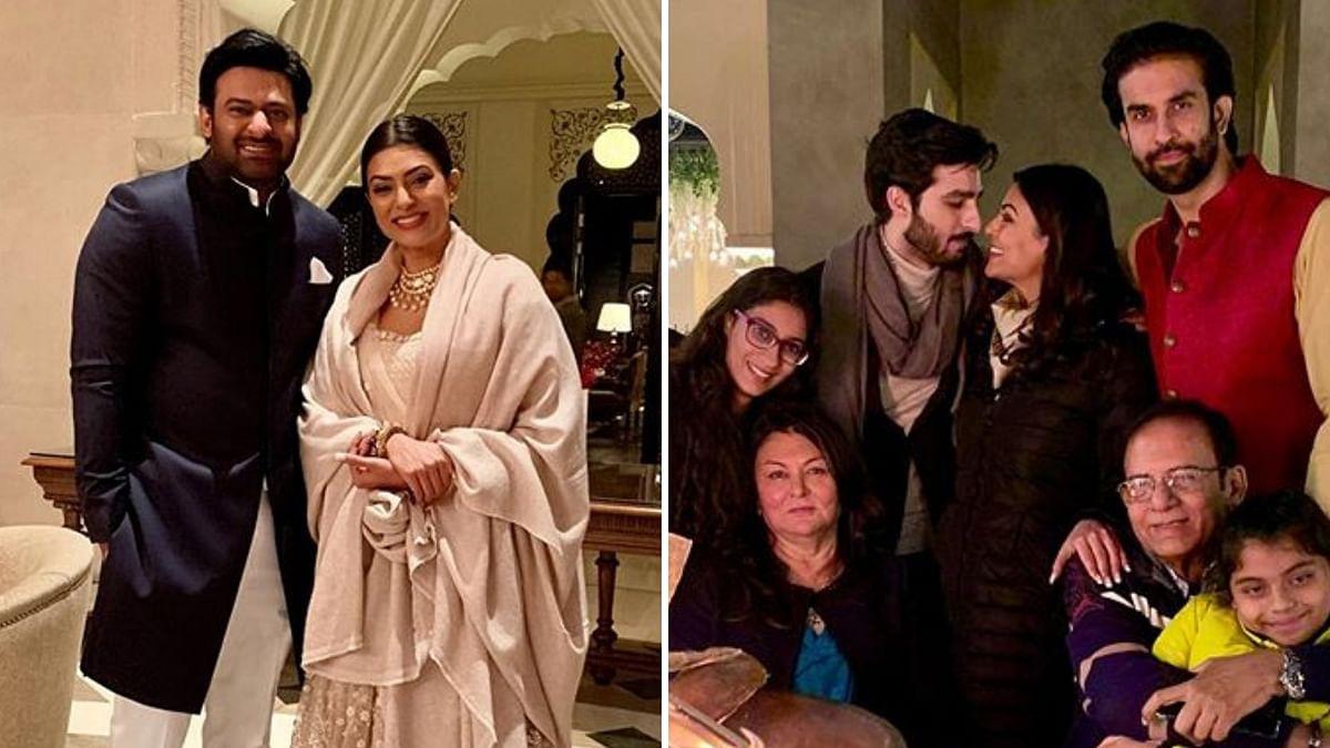 Sushmita Sen poses with <i>Baahubali</i>'s Prabhas and her family.