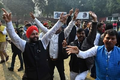 New Delhi: Congress workers celebrate after Congress President Rahul Gandhi appointed Priyanka Gandhi Vadra as party General Secretary in charge of eastern Uttar Pradesh; in New Delhi on Jan 23, 2019. (Photo: IANS)