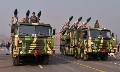 Akash missile system during 2019 Republic Day rehearsals on Rajpath. (File Photo: IANS)