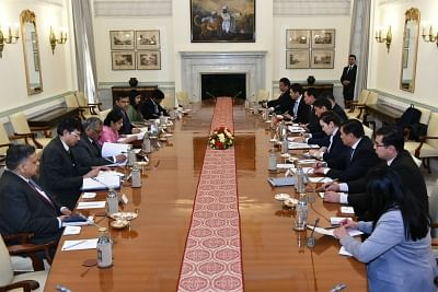 New Delhi: External Affairs Minister Sushma Swaraj and Kyrgyzstan Foreign Affairs Minister Aidarbekov Chingiz Azamatovich hold delegation level talks at Hyderabad House in New Delhi, on Jan 29, 2019. (Photo: IANS/MEA)