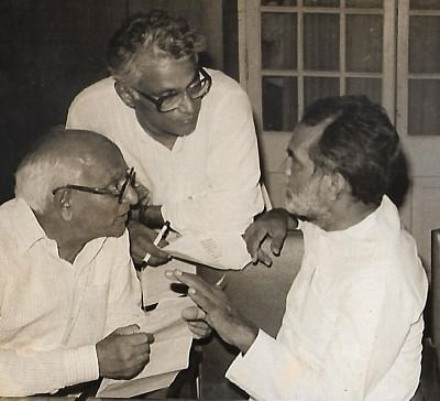 Former Defence Minister George Fernandes with Former Prime Minister Chandra Shekhar and politician Madhu Dandavate seen in an undated photo. (File photo: IANS)
