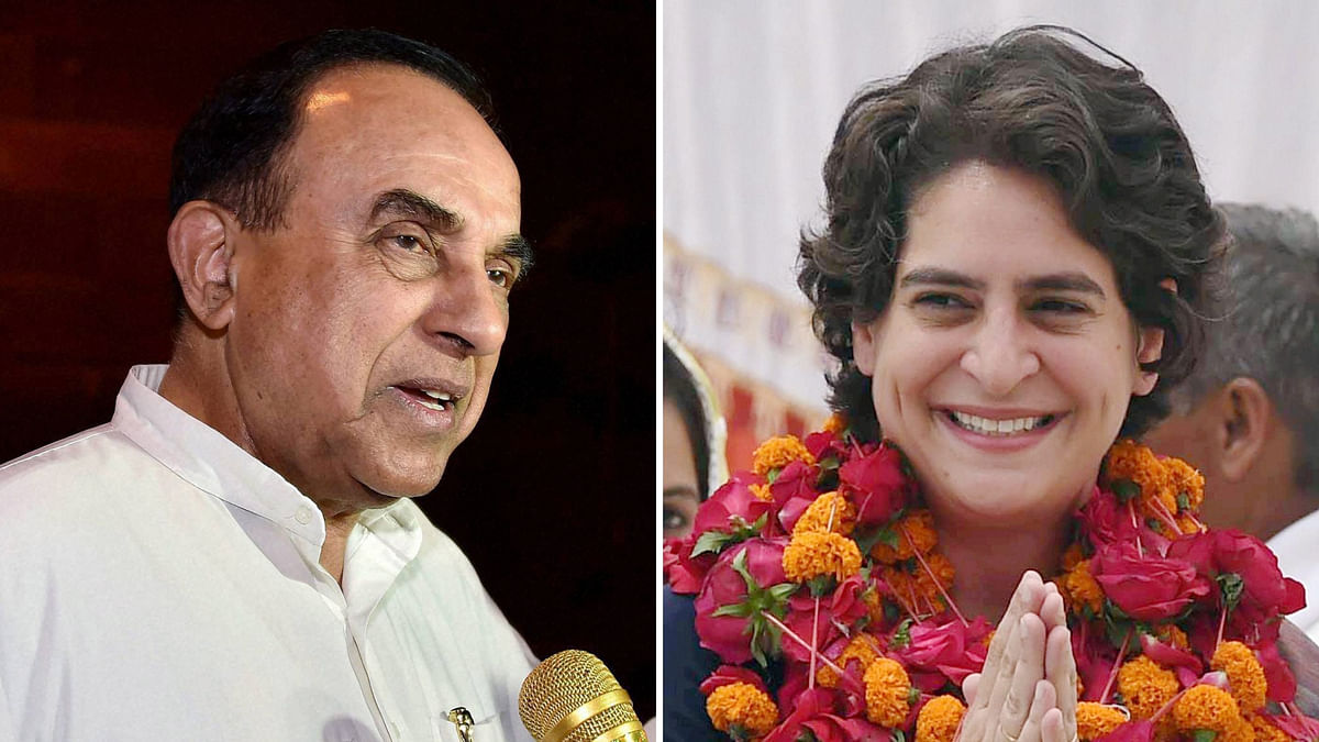 BJP's Subramanian Swamy (left) and Priyanka Gandhi.