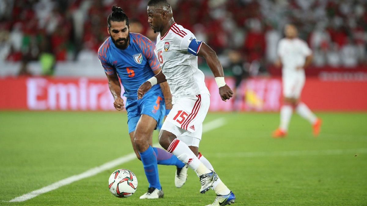 Defender Sandesh Jhingan vies for the ball during India's 1-0 defeat in their AFC Asian Cup 2019 group stage clash against hosts UAE at Abu Dhabi.