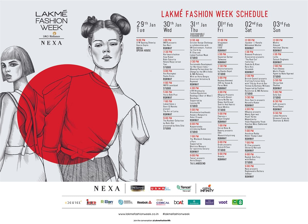 Line-up of shows at Lakme Fashion Week 2019.
