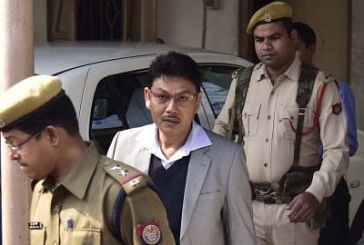 Guwahati: National Democratic Front of Bodoland (NDFB) Chairman Ranjan Daimary, the main accused of the Assam serial blasts, being taken to be produced before a special Central Bureau of Investigation (CBI) court in Guwahati, on Jan 28, 2019. A special CBI judge convicted 15 accused including the NDFB Chairman, in the October 30, 2008 serial blasts across Assam, that left over 88 dead and hundreds injured across the state. The quantum of punishment would be pronounced on Wednesday. (Photo: IANS)