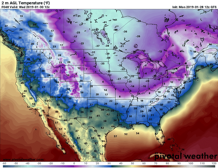 Predicted near-surface air temperatures (F) for Wednesday morning, Jan. 30, 2019. Forecast by NOAA's Global Forecast System model.