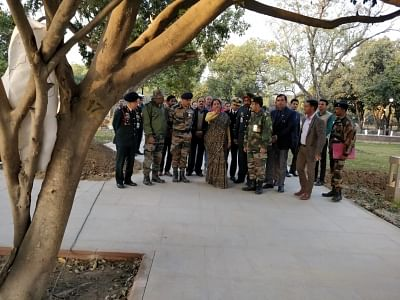New Delhi: Defence Minister Nirmala Sitharaman reviews the progress on the finishing of the National War Memorial near India Gate in New Delhi on Jan 10, 2019. (Photo: IANS/DPRO)