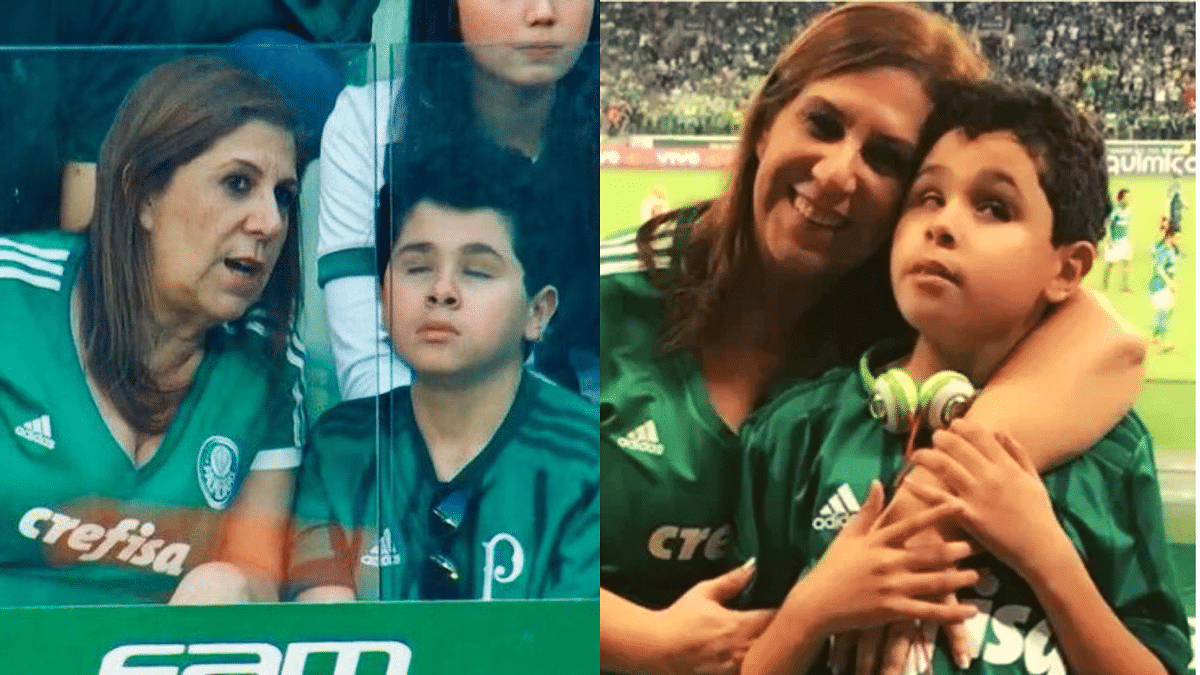 Silvia Grecco and her son Nickollas at one of Palmeiras' home match.