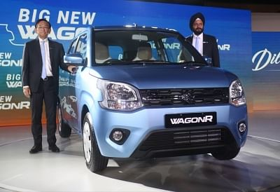 New Delhi: Maruti Suzuki India MD and CEO Kenichi Ayukawa and Senior Executive Director (Marketing and Sales) R.S. Kalsi at the launch of Big New WagonR in New Delhi, on Jan 23, 2019. (Photo: IANS)
