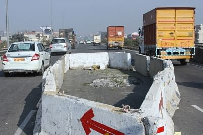 Gurugram: Traffic movement between Manesar and Gurugram was hit as a huge portion of the Rampura flyover on the Delhi-Jaipur national highway broke off and fell in Gurugram on Dec 17, 2018. The flyover was opened for traffic nearly two years ago. A portion of another flyover near Manesar and Hero Honda Chowk had fallen down earlier in 2018. (Photo: IANS)