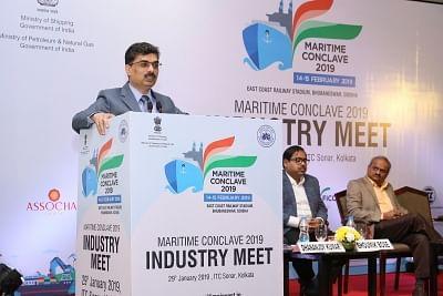Kolkata Port Trust (KoPT) Chairman Vinit Kumar addresses at Maritime Conclave 2019 at East Coast Railway Stadium in Bhubaneswar, on Jan 29, 2019. (Photo: IANS)