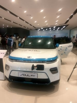 Anantapur: Kia Soul EV SUV at the Anantapur plant of Kia Motors in Andhra Pradesh during the trial production ceremony, on Jan 29, 2019. (Photo: IANS)