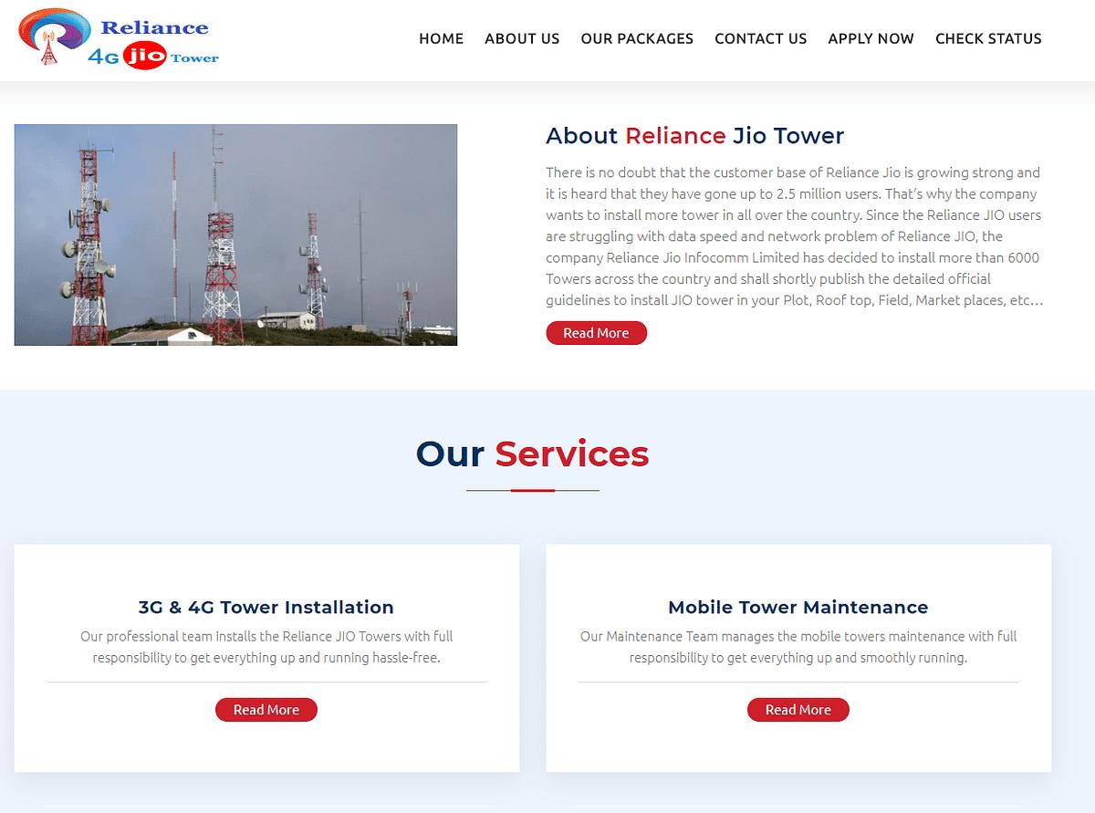"A screenshot of a hoax Jio tower <a href=""http://jiotowerindia.in/"">website</a>."