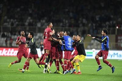 ABU DHABI, Jan. 23, 2019 (Xinhua) -- Players of Qatar celebrate victory after the 2019 AFC Asian Cup round of 16 match between Qatar and Iraq in Abu Dhabi, the United Arab Emirates, on Jan. 22, 2019. Qatar won 1-0 to progress through to the quarter finals. (Xinhua/Wu Huiwo/IANS)