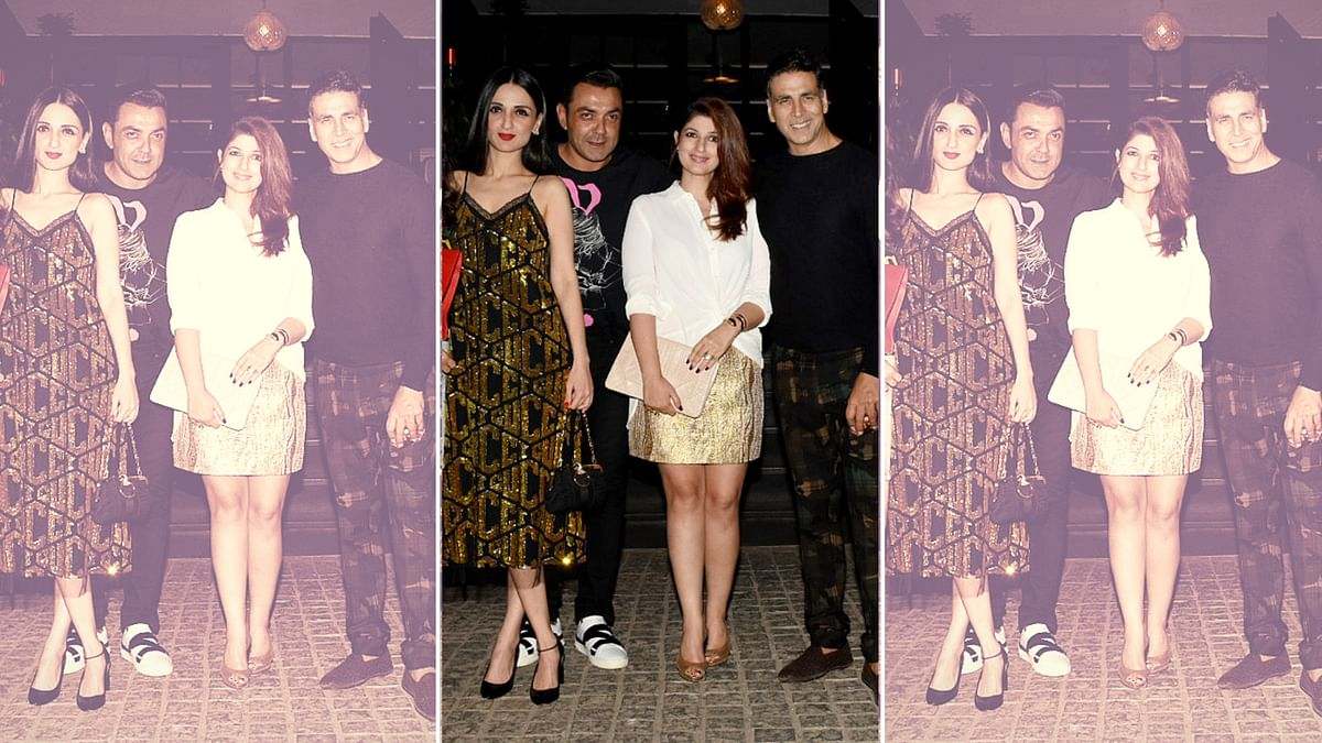 Akshay Kumar and Twinkle Khanna at their wedding anniversary celebrations.