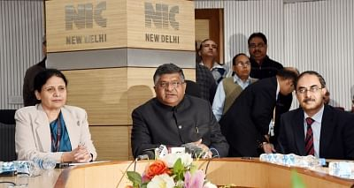 New Delhi: Union Minister for Electronics & Information Technology and Law & Justice Ravi Shankar Prasad addresses at the inauguration of the Command & Control Centre (CCC) and Centre of Excellence (CoE) for Artificial Intelligence, in New Delhi on Jan 10, 2019. Also seen Ministry of Electronics & Information Technology Secretary Ajay Prakash Sawhney. (Photo: IANS/PIB)
