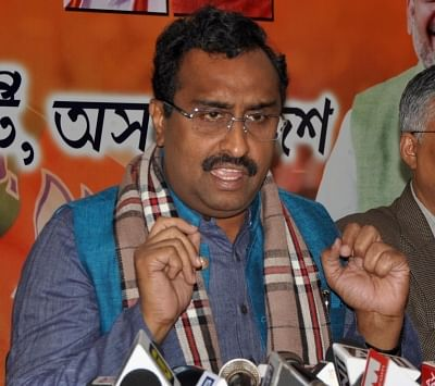 Guwahati: BJP leader Ram Madhav addresses a press conference in Guwahati on Jan 17, 2019. (Photo: IANS)