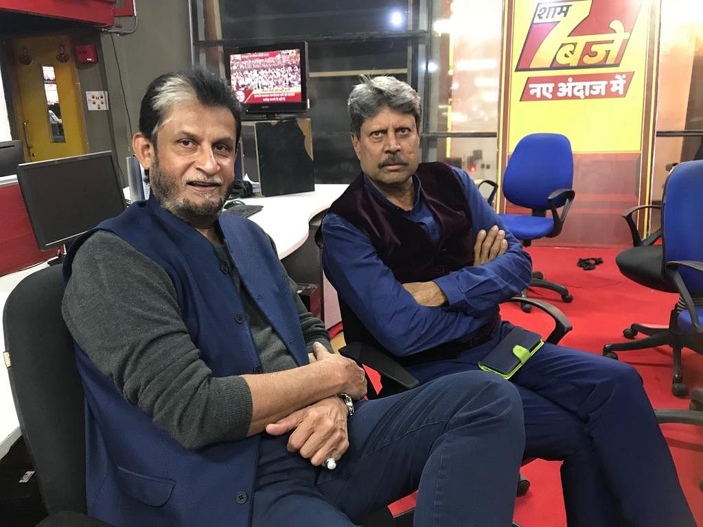 File photo of Sandeep Patil and Kapil Dev from a broadcasting stint.