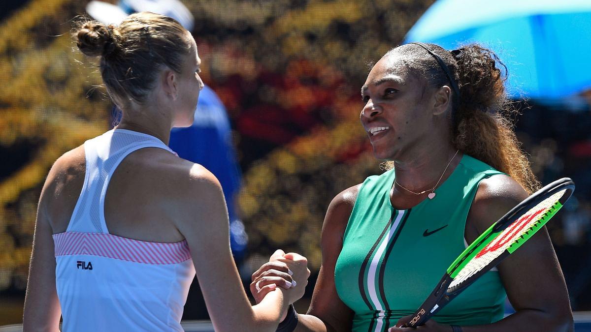 Karolina Pliskova of the Czech Republic, left, is congratulated by United States' Serena Williams after winning their quarter-final match at the Australian Open.