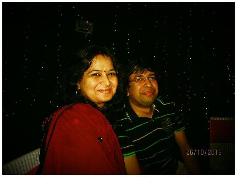 Archana Gupta and her husband.