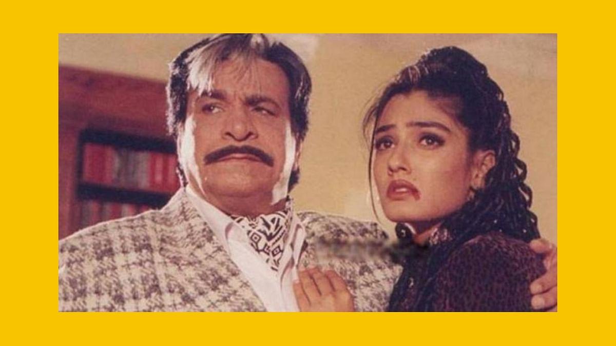 Kader Khan and Raveena Tandon in a still from <i>Dulhe Raja</i>.