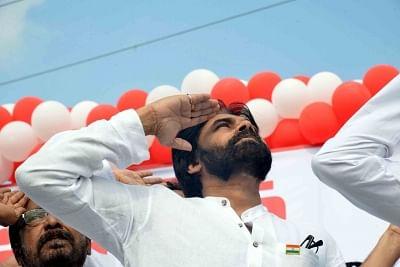 Mangalagiri: Jana Sena President Pawan Kalyan salutes the national flag during 2019 Republic Day celebrations in Andhra Pradesh.