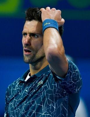 DOHA, Jan. 4, 2019 (Xinhua) -- Novak Djokovic of Serbia reacts during the singles semifinal match against Roberto Bautista Agut of Spain at the ATP Qatar Open tennis tournament in Doha, capital of Qatar, Jan. 4, 2019. (Xinhua/Nikku/IANS)