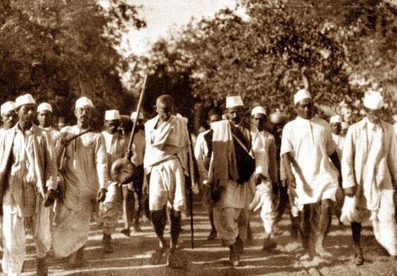 Gandhi leading the Dandi March.