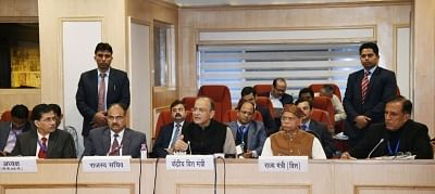 New Delhi: Union Finance and Corporate Affairs Minister Arun Jaitley addresses a press conference after the 32nd GST Council meeting, in New Delhi, on Jan 10, 2019. Also seen Union MoS Finance Shiv Pratap Shukla, Revenue Secretary Ajay Bhushan Pandey and other dignitaries. (Photo: IANS/PIB)