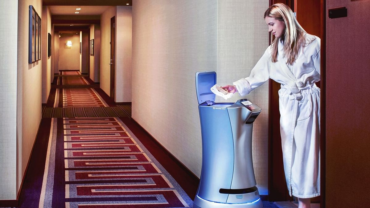 The Savioke Relay robot performs room-service functions in some US hotels.
