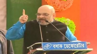Malda: BJP chief Amit Shah addresses a party rally in Malda, West Bengal on 22 January 2019.